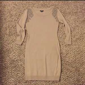 Rhapsody bodycon tan sweater dress
